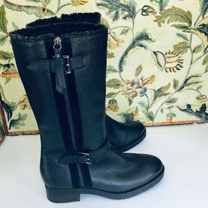 NWOT Ecco Black Leather Moto Boots- Size 38